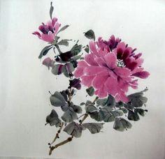 *chinese brush painting peony
