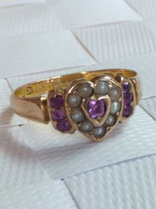 Fine Victorian Ruby & seed Pearl sweetheart gold ring,1891 | eBay