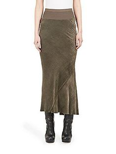 Rick Owens Bias Cut Calf Length Skirt