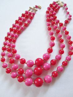 Items similar to Triple Strand Beaded Necklace Red Pink Plastic Hong Kong Vintage Goldtone Spacers on Etsy Pink Love, Bright Pink, Red And Pink, Hot Pink, Girls Jewelry Box, Pink Plastic, Pretty And Cute, Red Fashion, Shades Of Red