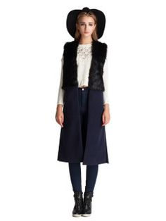 Shop Vintage Long Waistcoat with Fur Panel from choies.com .Free shipping Worldwide.$49.99
