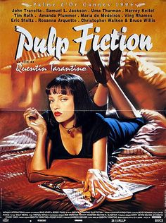 Pulp Fiction is an American crime film that was released in It starred John Travolta, Samuel L. Jackson and Uma Thurman and was directed by Quentin Tarantino. Pulp Fiction Film, Quentin Tarantino Pulp Fiction, Fiction Movies, Tarantino Films, John Travolta, Bruce Willis, Eric Stoltz, 1990s Movies, Cult Movies
