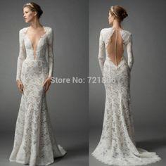 2015 Fashion Design New Arrival Deep V Neck A-Line Long Sleeves Elegant Lace Flower Beatiful Long Wedding Dress Plus Size hs030