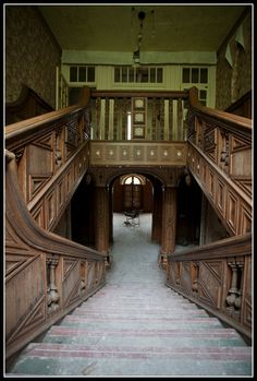 Pool Parc Hospital, was rebuilt in 1820's, opened as a hospital in 1937, closed in 1990 and has been abandoned ever since...look at the beautiful wood!
