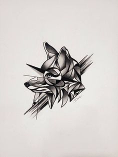 fox geometric tattoo drawing