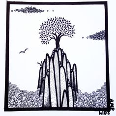Black Ink Pen Drawing by Anne Marie Price www.ampriceart.com #AMP #ampriceart #drawing #tree #island #pen #inspiration Ink Pen Art, Ink Pen Drawings, Moose Art, Island, Amp, Animals, Inspiration, Black, Biblical Inspiration