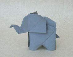 origami elephant by soneblees, via Flickr  //  He's so cute!!