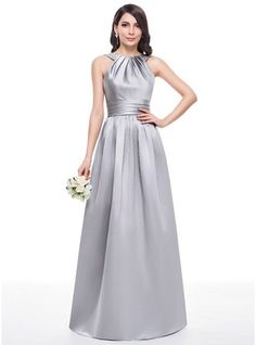 A-Line/Princess Scoop Neck Floor-Length Satin Bridesmaid Dress With Ruffle