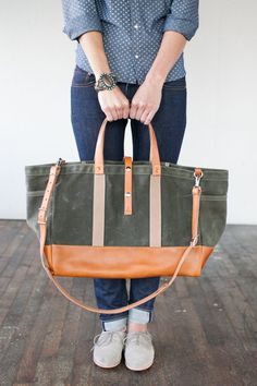 No. 175 Leather Bottom Tote with Olive Twill Waxed Canvas.  (um, this is a million dollars. But something similar. Sturdy enough to carry books and laptop.)