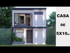 Plano de casa pequeña 5x10 metros - 3 Dormitorios y 2 Pisos - YouTube Minimalist House Design, Small House Design, Minimalist Home, House Layout Plans, House Layouts, 20x40 House Plans, Tiny House Loft, Casa Patio, House Construction Plan
