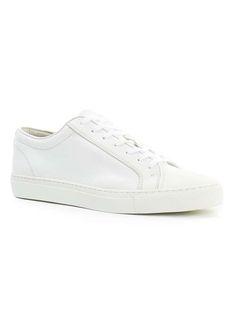 <ul> <li>Model: Tux Lace Shoes</li> <li>White leather upper</li> <li>Self coloured laces</li> <li>White chunky rubber sole</li> Leather</li> </ul> Plain White Sneakers, Casual Sneakers, Casual Shoes, Leather Sneakers, White Leather, Men's Shoes, Vans, Mens Fashion, Moda Masculina