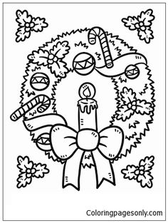 Christmas Wreath 2 Coloring Page