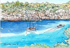 Majorque Cala Pi art impression de peinture aquarelle