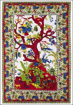 Sacred Tree of Life - White - Tapestry 58 in. x 82 in.