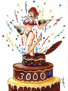 #dessin #humour #pinup #sexy #aquarelle #3000 #facebook