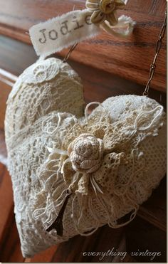 lovely shabby white fabric heart