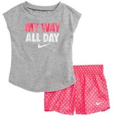 Nike My Way All Day Graphic Tee & Shorts Set Lazy Outfits, Toddler Girl Outfits, Casual Summer Outfits, Kids Outfits, Girls Fashion Clothes, Baby Girl Fashion, Kids Fashion, Little Girl Swag, Cute Toddlers