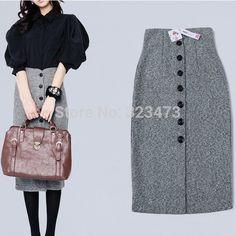 ff9629f547e Find More Information about Autumn Winter Vintage Lady Fashion Women Skirt  Gray Woolen Pencil Skirt High Waist OL Skirt Slim Skirts Female Plus Size  XXXL ...
