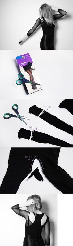 Al principio no entendia, pero es una franela transparente para usar en capas. Se hace con medias panty--10 Easy to Make – Do It Yourself Ideas