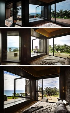 In this modern bedroom, a large pivoting glass window can be opened for the ocean breeze to drift through, and the window sill then becomes a bench.