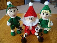 Santa's Little Helpers by Knotty Hooker Designs - This pattern is available for $6.00 USD. This listing is for both of my Santa's Little Helpers!  Buy together and save $1. Both dolls may be purchased separately. Please see my other listings. Santa can also be purchased in my shop. Finished doll is appx. 10 inches tall with 3.0 mm Crochet Hook
