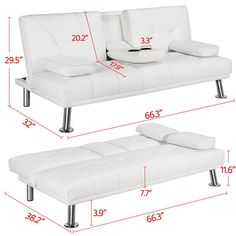 LuxuryGoods Modern Faux Leather Futon Sofa Bed Home Recliner Couch, White - Walmart.com - Walmart.com Sofa Bed Home, Futon Sofa Bed, Couch, White Futon, White Pillows, Bed Raisers, Convertible, Leather Futon, Sofa Legs