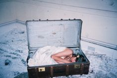 girl, loneliness, photo, suitcase