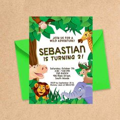 Animals in Zoo Birthday Party Invitation Design. Your Baby Boy or Girl went wild with this Safari themed invite. Invitation Design, Invite, Zoo Birthday, Baby Boy Or Girl, Birthday Party Invitations, Christening, Creative Art, Signage, Rsvp