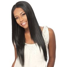 Trendy Silky Straight Capless Long Middle Part Black Synthetic Wig For... ($15) ❤ liked on Polyvore featuring beauty products, haircare and hair styling tools
