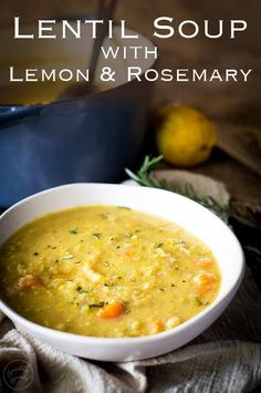 This vegetarian lentil soup is healthy, easy to make and can be cooked in the slow cooker/crockpot. Plus it is low carb and naturally gluten free. The lemon & rosemary gives it a freshness, whilst the blended red lentils & vegetables give it a rich creamy Vegetarian Lentil Soup, Red Lentil Soup, Slow Cooker Lentil Soup, Vegetarian Crockpot Soup, Lentil Vegetable Soup, Vegetable Cream Soup, Healthy Lentil Soup, Easy Vegan Soup, Lentil Salad
