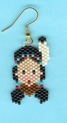 Hand Beaded Little Indian Girl earrings catalog by beadfairy1, $9.00