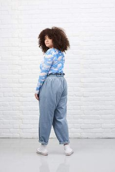 'Eunoia' High Waisted Corduroy Trousers In Sky Blue Curvy Outfits, Plus Size Outfits, Fashion Outfits, Ethical Clothing, Ethical Fashion, Dungaree Dress, Looks Plus Size, Moda Plus Size, How To Pose
