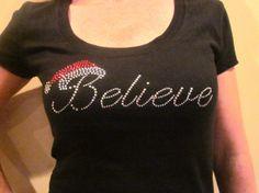 Believe Shirt Santa Christmas TShirt by FaithHopeInspire on Etsy, $30.00