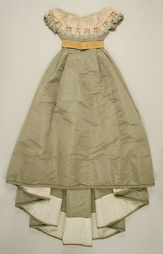 Ensemble (Skirt and Evening Bodice): 1865-1867, French, silk, cotton.