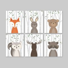 Animal Nursery Art Woodland Nursery Decor Baby Room Decor Forest Animal Prints Set of 6 Fox Rabbit Bear Squirrel Moose Raccoon Pin now to view later