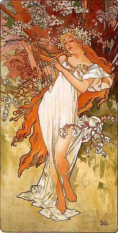 The Four Seasons -Spring-(1896)  Alfonse Mucha