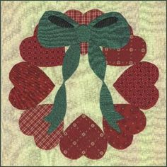 Applique Basics Workshop, heart wreath quilt block