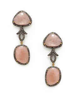 Cognac Diamond & Lt. Brown Moonstone Freeform Double Drop Earrings by Karma Jewels on Gilt.com