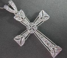 Antique Large 41ct Diamond 18K White Gold Filigree Cross Pendant Chain 20838 | eBay LIKE THE FILAGREE DESIGN W/THE DIAMONDS