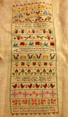 The Four Seasons Stitch Along Completed by Hanita The Four Seasons Stitch Along has now ended but is available as a chart or kit Four Seasons, Free Pattern, Craft Supplies, Bohemian Rug, Chart, Kit, Embroidery, Quilts, Stitch