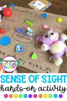 Teaching about the FIVE SENSES? Use this hands-on activity to teach about the s. - Teaching about the FIVE SENSES? Use this hands-on activity to teach about the sense of sight. Five Senses Preschool, 5 Senses Activities, My Five Senses, Pre K Activities, Kindergarten Science, Preschool Learning Activities, Preschool Curriculum, Hands On Activities, Preschool Activities