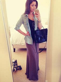 Denim shirt and maxi skirt