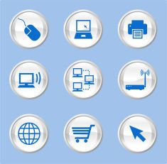 Computer Technology royalty free vector icon set vector art illustration