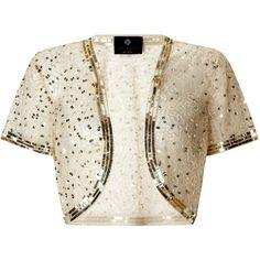 Ariella Vera Sequin and Bead Bolero, Gold ($98) ❤ liked on Polyvore featuring outerwear, jackets, cardigans, bolero, gold, evening bolero jacket, white jacket, plus size jackets, sequin bolero jacket and white bolero jacket