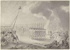 François Joseph Pfeiffer | Een corps Patriotten trekt op, François Joseph Pfeiffer, after 1780 - before 1784 | Een corps Patriotten trekt op, voorbij een piramide met de wapens der Zeven provinciën, en verjaagt monsters als Tweedracht en Verraad. Ontwerp voor een historieprent.