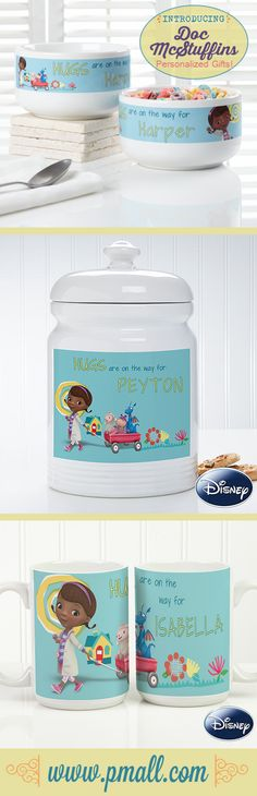They have Doc McStuffins bowls, cookie jars and coffee mugs that you can personalize with any name! I LOVE LOVE LOVE this! I have to get my little one the bowl so she can eat her cereal in a Doc McStuffins bowl while she watches the show! #Disney #DocMcStuffins #personalized #kids #personalizationmall #pmallgifts