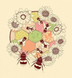 Artwork featuring quilting (hexagon piecing), flowers, and bees! Artist unknown.