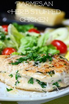 Parmesan and Herb Stuffed Chicken .... I think I might be able to lighten this up using Laughing Cow Cheese. Love the idea!