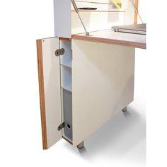 Dieser raumsparende Sekretär besitzt im geschlossenen Zustand eine Grundfläche von lediglich 0,09 m² und ist dank der... - Sekretär Flatmate