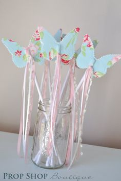 Girls Butterfly Wand, Birthday, Party Favor, Dress up, Photo Prop. $12.00, via Etsy.